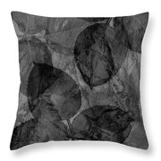 Rose Clippings Mural Wall - Black And White Throw Pillow
