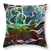 Rose Colorized Outline Throw Pillow