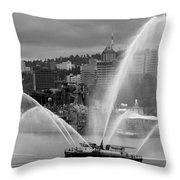 Rose Festival Fire Boat Throw Pillow
