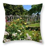 Rose Garden And Trellis Throw Pillow