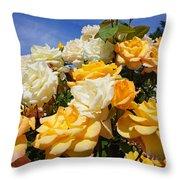Rose Garden Art Prints Yellow Orange Rose Flowers Throw Pillow