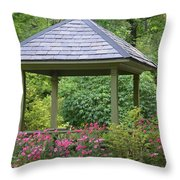Rose Garden Gazebo Throw Pillow