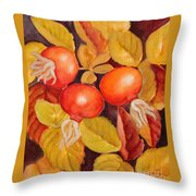 Rose Hips Throw Pillow