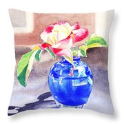 Rose In The Blue Vase  Throw Pillow