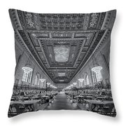 Rose Main Reading Room At The Nypl Bw Throw Pillow