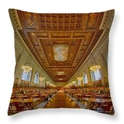Rose Main Reading Room At The Nypl Throw Pillow