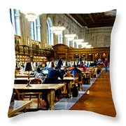 Rose Main Reading Room New York Public Library Throw Pillow