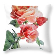 Watercolor Of Red Roses On A Stem I Call Rose Maurice Corens Throw Pillow
