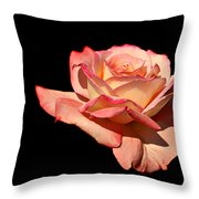 Rose On Black Background Throw Pillow