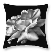 Rose Petals In Black And White Throw Pillow