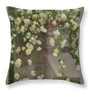 Rose Sprawling On Stone Throw Pillow