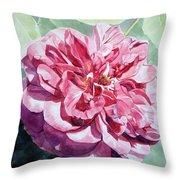 Watercolor Of A Pink Rose In Full Bloom Dedicated To Van Gogh Throw Pillow