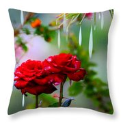 Rose Water Drops Throw Pillow