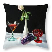 Rose Wine And Fruit Throw Pillow