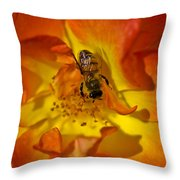 Rose With Bee Throw Pillow