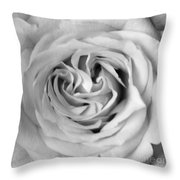 Rose With Heart B W Throw Pillow