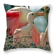 Roseate Spoonbill Feeding Young At Nest Throw Pillow