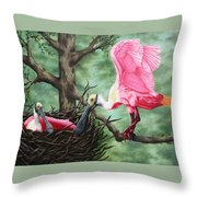Roseate Spoonbill Nesters  Throw Pillow
