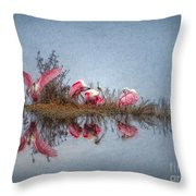 Roseate Spoonbills At Rest Throw Pillow