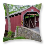 Rosehill Covered Bridge Throw Pillow