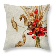 Rosehips And Grasses Throw Pillow