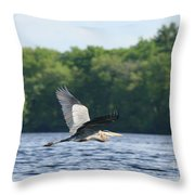 Roseland Lake Great Blue Heron Fly By  Throw Pillow