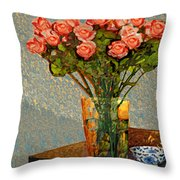 Roses And A Chinese Bowl Throw Pillow