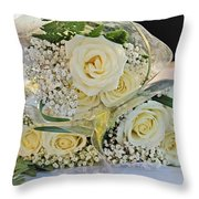 Roses And Baby Breath Throw Pillow
