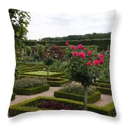 Roses And Cabbage -  Chateau Villandry Throw Pillow