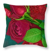 Roses And Carnations Throw Pillow
