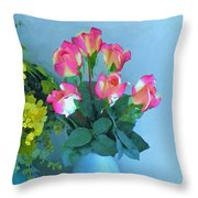 Roses And Flowers In A Vase Throw Pillow