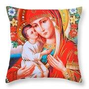 Roses And Holy Family Throw Pillow