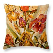 Roses And Irises Throw Pillow