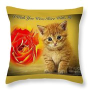 Roses And Kittens Textured Throw Pillow