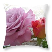 Roses And Lace Throw Pillow