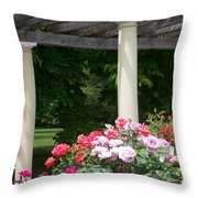 Roses And Pergola Throw Pillow