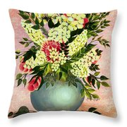 Roses And White Lilacs Throw Pillow