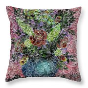 Roses And White Lilacs Digital Painting Throw Pillow