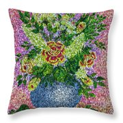 Roses And White Lilacs Lacy Bouquet Digital Painting Throw Pillow
