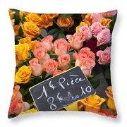 Roses At Flower Market Throw Pillow