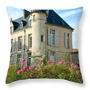 Roses At The Castle Throw Pillow by Olivier Le Queinec