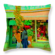Roses At The Flower Shop Fleuriste Coin Vert Rue Notre Dame Springtime Scenes Carole Spandau Throw Pillow