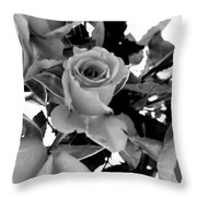 Roses Black And White Throw Pillow