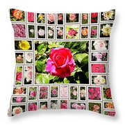 Roses Collage 2 - Painted Throw Pillow by Stefano Senise
