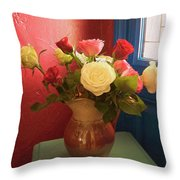 Roses For Sandra Throw Pillow