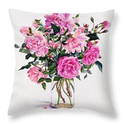 Roses In A Glass Jar  Throw Pillow