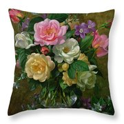 Roses In A Glass Vase Throw Pillow by Albert Williams