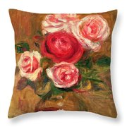 Roses In A Pot Throw Pillow by Pierre Auguste Renoir