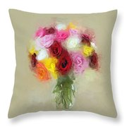 Roses In A Vase 1 Throw Pillow
