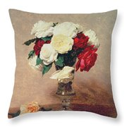 Roses In A Vase With Stem Throw Pillow